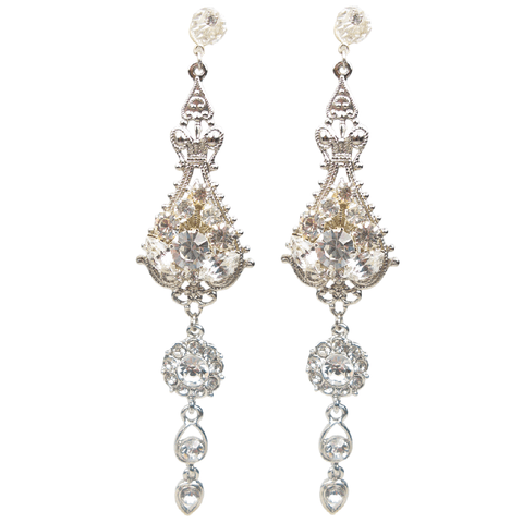 One-Of-A-Kind Ornate Crystal Promise Earrings