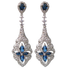Load image into Gallery viewer, Blue Regal Romance Pendulum Diamontage™ 3.13 Carat Earrings