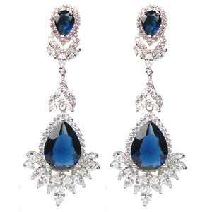 Faceted Blue Celebration Drop Diamontage™ 27.25 Carat Earrings