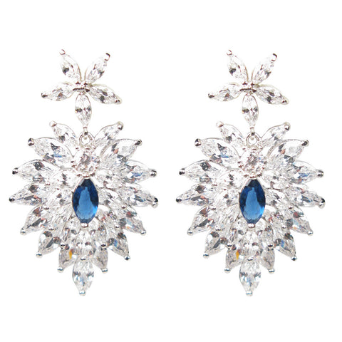 Jeweled Blue Holly Leaf Marquise Diamontage™ 11.625 Carat Earrings