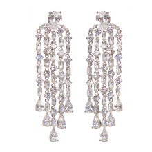 Load image into Gallery viewer, Baguette Strand Chandelier Diamontage™ 11.8 Carat Earrings