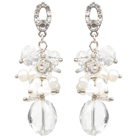One-Of-A-Kind Pearl Crystal Cluster Earrings