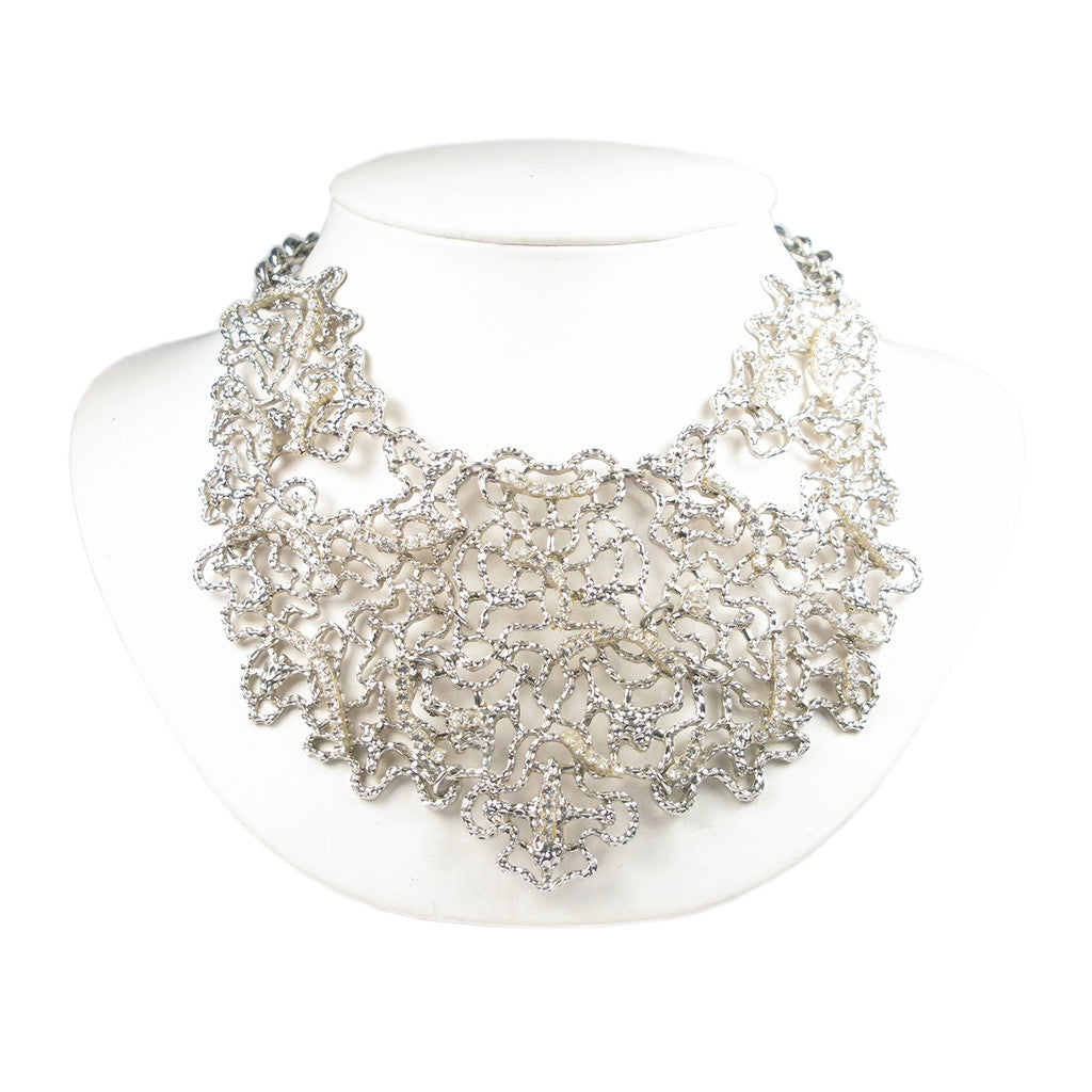 Silver Cirrus Mesh Bib Necklace