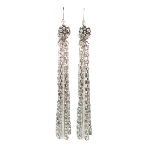 One-Of-A-Kind Silver Mesh Tassel Earrings