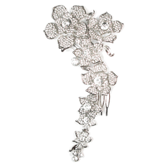 Cascading Crystal Flowers Head Comb