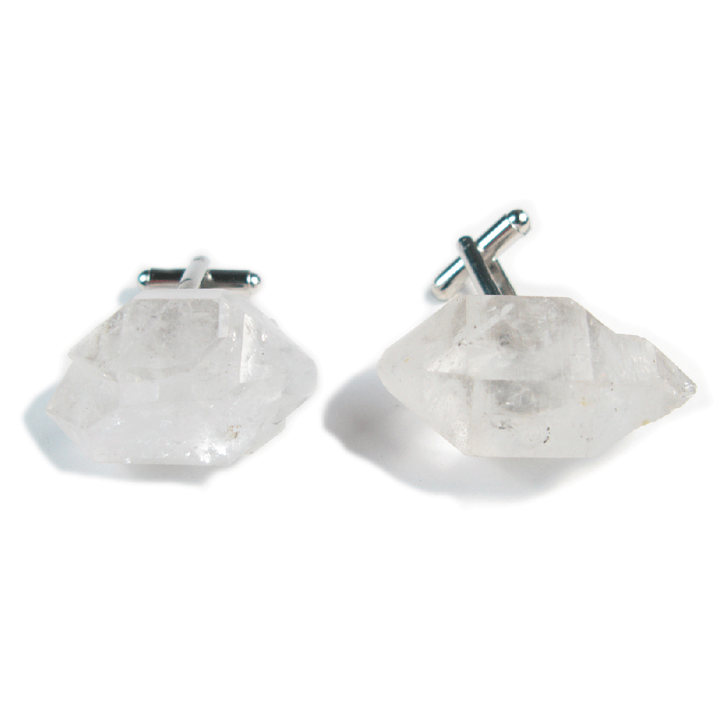 One-Of-A-Kind Raw Cut Tibetan Crystal Quartz Cufflinks