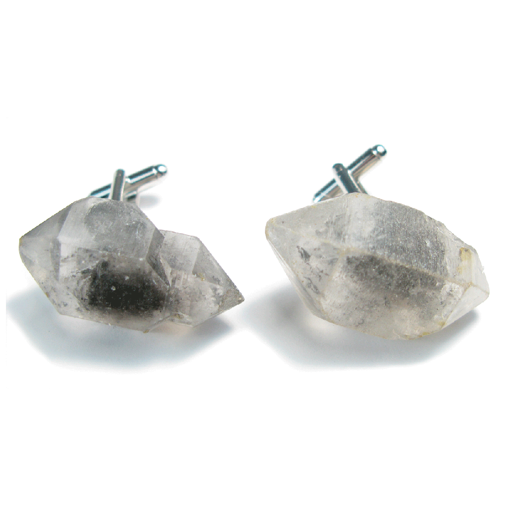 One-Of-A-Kind Raw-Cut Rutilated Tibetan Crystal Quartz Cufflinks