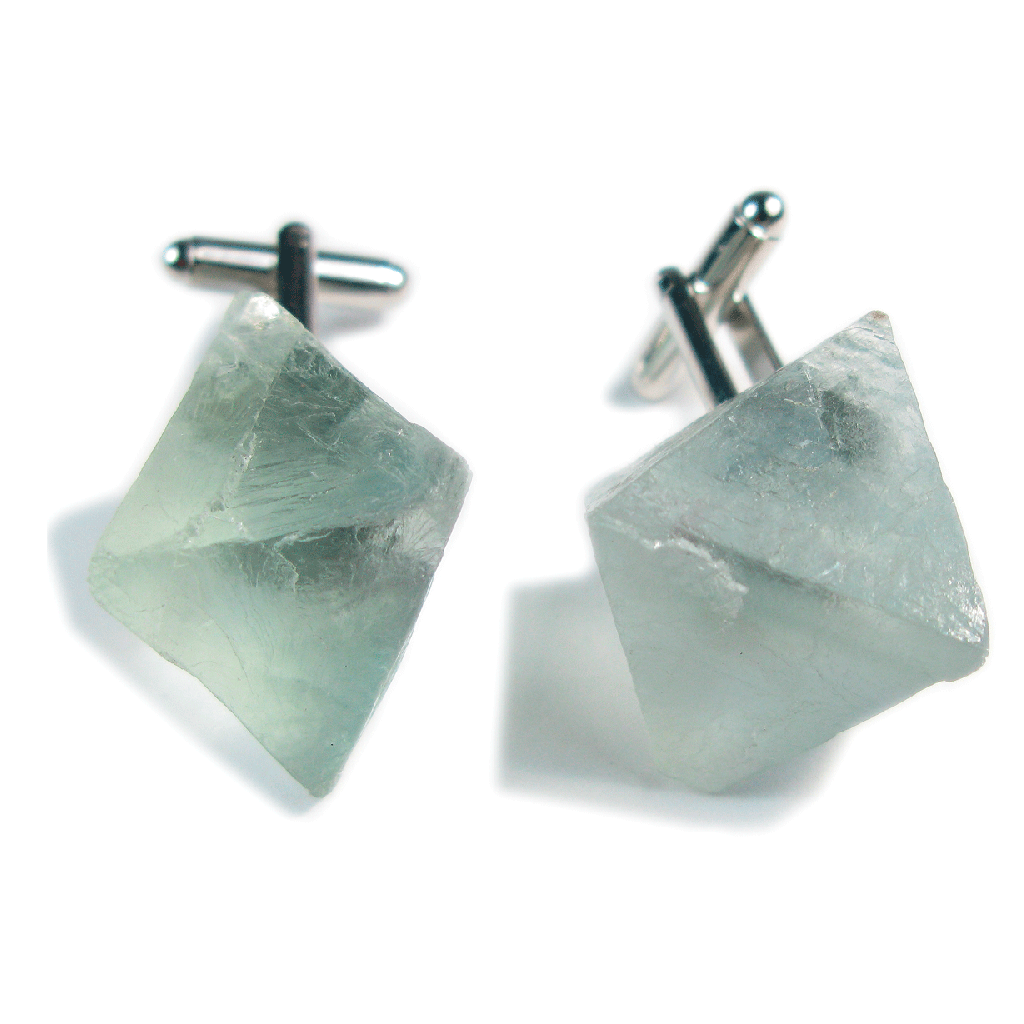 One-Of-A-Kind Raw-Cut Pyracube Fluorite Cufflinks