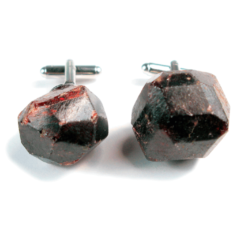 One-Of-A-Kind Raw-Cut Garnet Cufflinks
