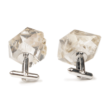 Load image into Gallery viewer, One-Of-A-Kind Raw-Cut Herkimer Diamond Cufflinks
