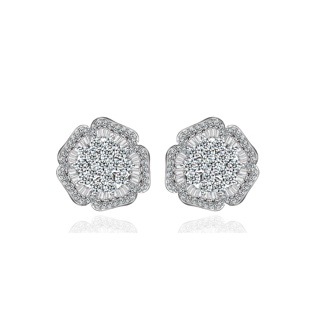 Five Petal Flower Diamontage™ 3.8 Carat Earrings