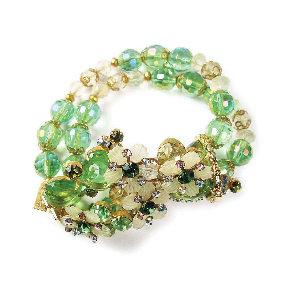 One-Of-A-Kind Tourmaline Vintage Couture Bouquet Bracelet
