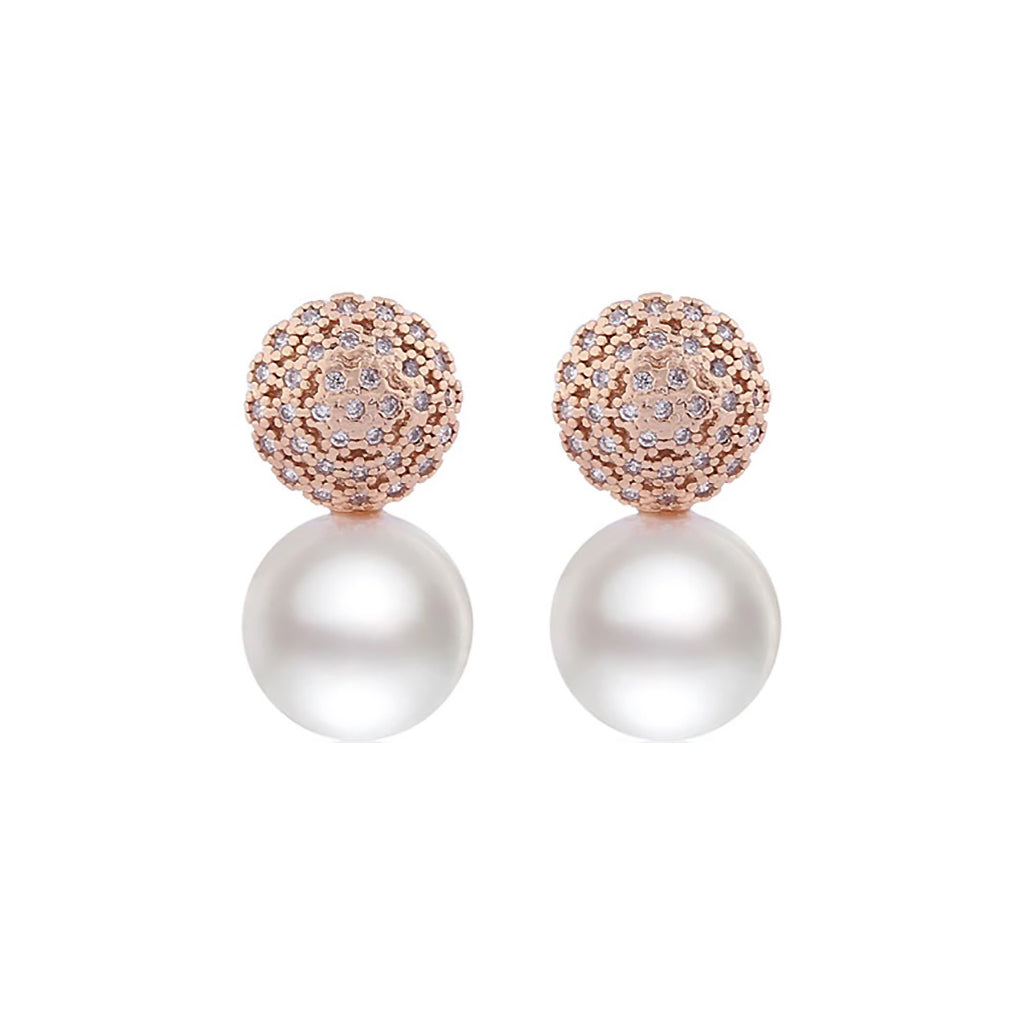 Golden Oracle Pearl Diamontage ™ 3.76 Carat Earrings