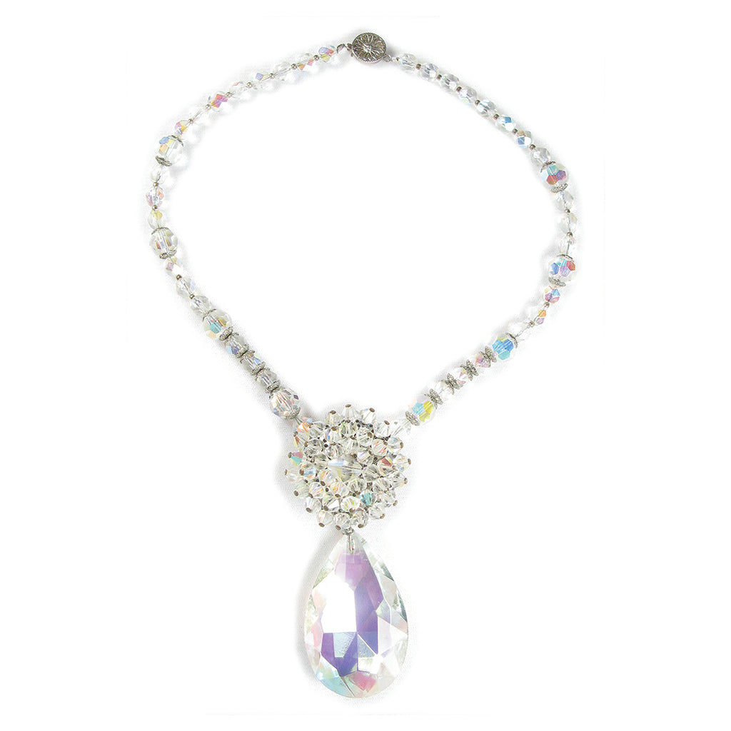 One-Of-A-Kind Estate Aurora Borealis Cluster Drop Necklace