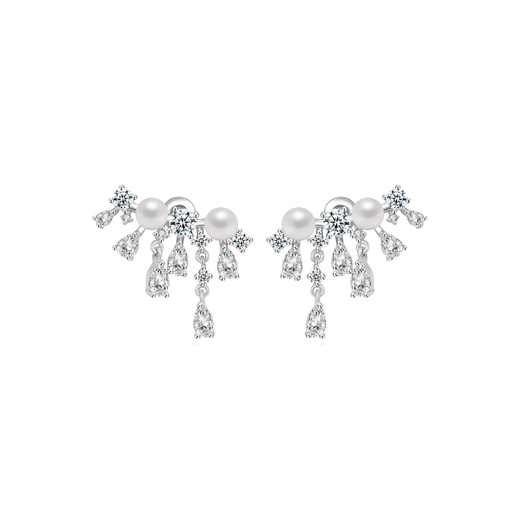 Pearl Duo Dangle Diamontage™ 1.8 Carat Earrings