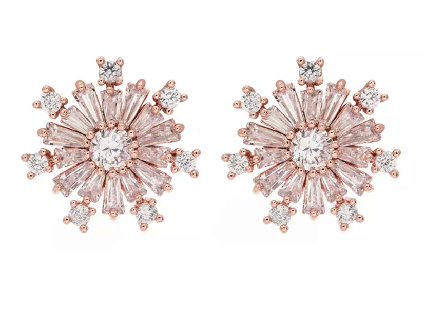 Rose Gold Sunflower Diamontage™ 5.8 Carat Earrings