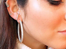 Load image into Gallery viewer, Pave' Diamontage Hoop Earrings