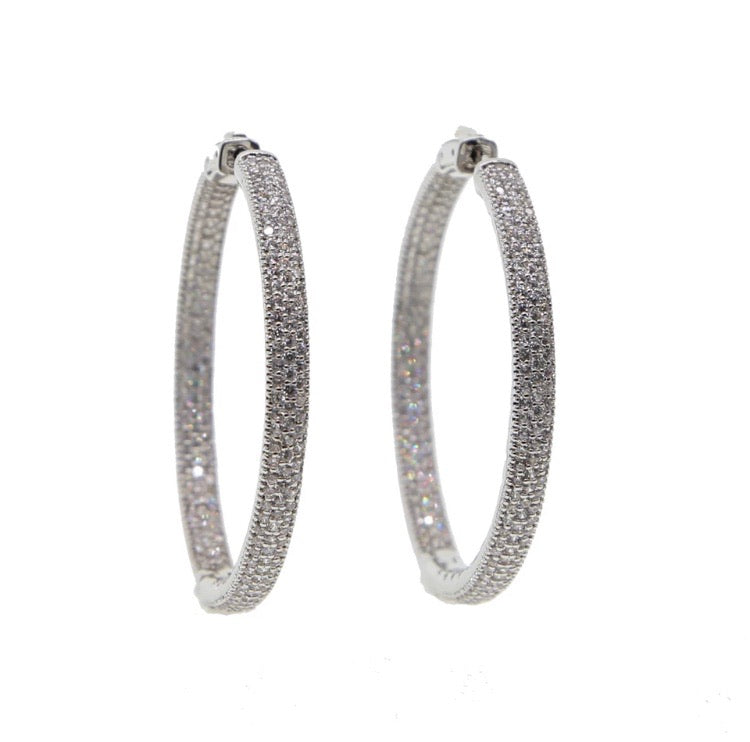 Pave' Diamontage Hoop Earrings