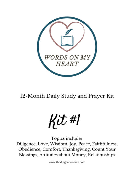 The Christian Walk - Words on My Heart - 12 month Scripture Writing Kit #1