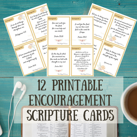 Set of 12 Encouragement Scripture Card Printables