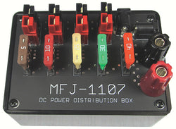 MFJ-1107, DC DISTRIBUTION BX, 1IN BP, 6OUT, PWR POLES,2.1MM