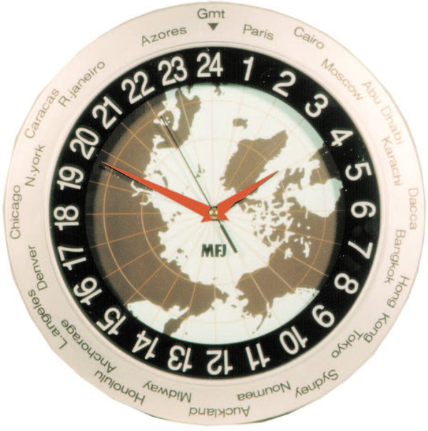 MFJ-115, CLOCK, 24 HR, WORLD MAP ANALOG WALL CLOCK