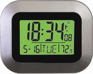 MFJ-130BRC, CLOCK, ATOMIC, 24/12HR/TEMP/LCD