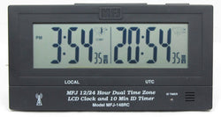 MFJ-148RC, DUAL TIME LCD CLOCK, ATOMIC W/GMT ZONE, ID TIMER