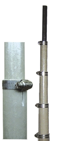 MFJ-1908, FIBERGLASS POLE, 41FT, 7.5 FT/SEC, HOSE CLAMPS