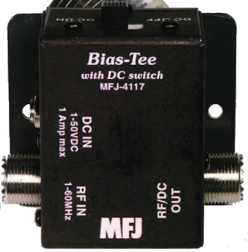MFJ-4117, BIAS TEE DC POWER INJECTOR,HF,W/ON-OFF 1-50VDC,1A
