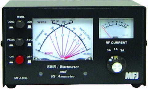 MFJ-836, RF IN-LINE CURRENT/SWR/WATTMETER, 1-30MHz, 3A