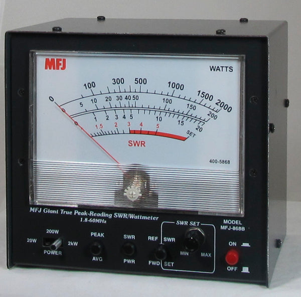 MFJ-868B, GIANT HF+6M, PEAK READING SWR/WATTMETER, 1.5kW