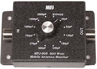 MFJ-909, MOBILE IMP.MATCHER, CAPACITOR TYPE, 10-80M, 600W