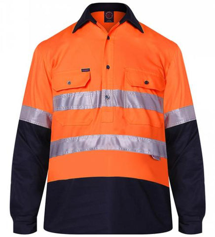 RM105CFR-RITEMATE Closed Front Hi Vis Long Sleeve Shirt Day/Night Rated in Regular Weight