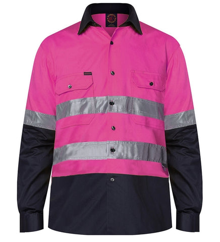 RM1050R-RITEMATE PINK Hi Vis Long Sleeve Shirt, Day/Night Rated Regular Weight