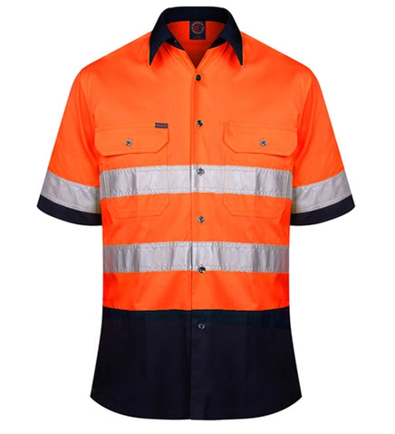 RM1050RS-RITEMATE Hi Vis Short Sleeve Shirt, Day/Night Rated in Regular Weight