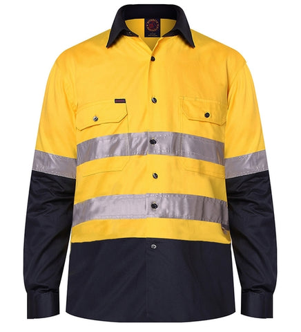 RM1050R-RITEMATE Hi Vis Long Sleeve Shirt, Day/Night Rated in Regular Weight