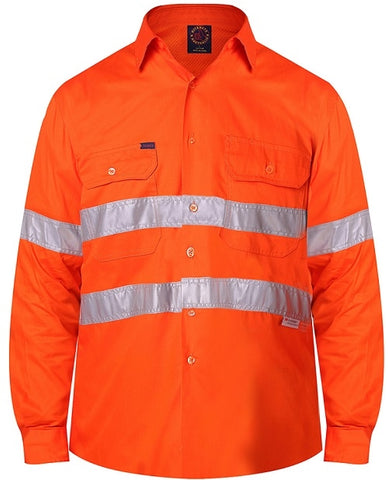 RM108V2R-RITEMATE Hi Vis All Orange Long Sleeve Shirt, Day/Night Rated in Light Weight