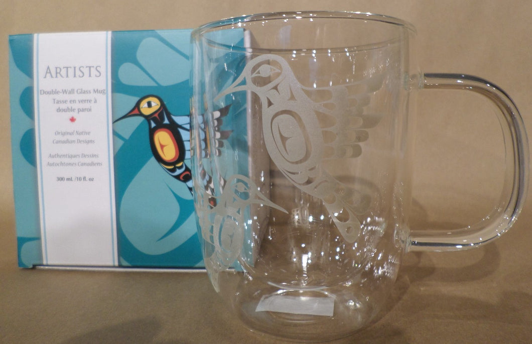 Double-Wall Glass Mug - Hummingbird