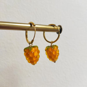 Raspberry Earrings Yellow