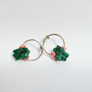 Raw Malachite and Pink Coral