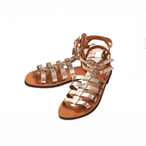 Classic Leather Woman Sandal – Gold