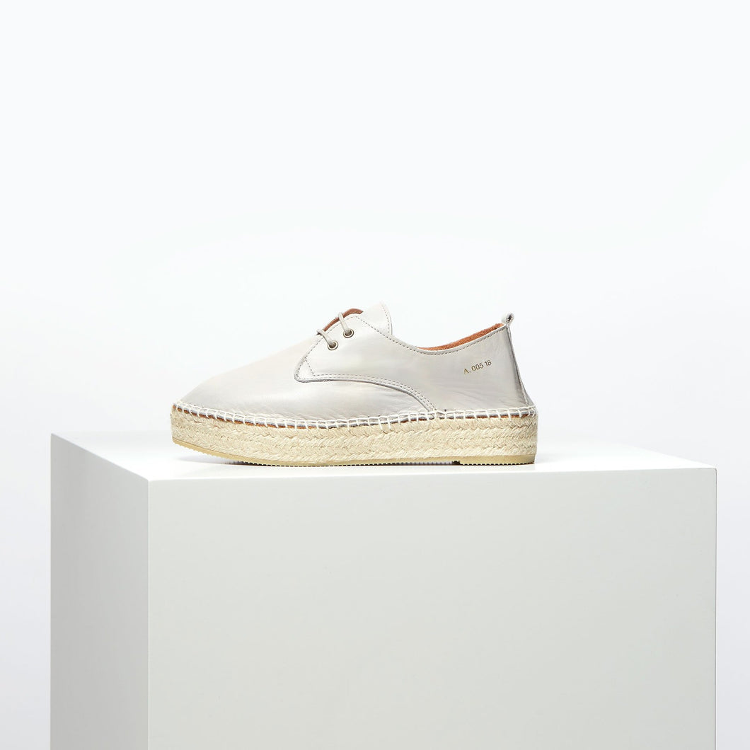 Cyan DS Leather Espadrilles Light Grey