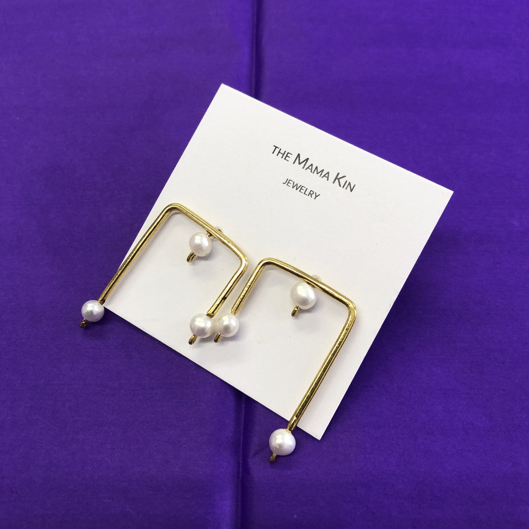 Square Earrings With Pearls