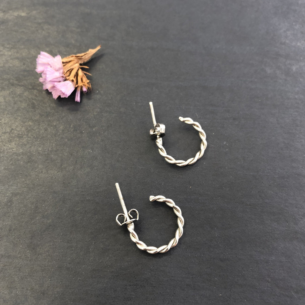 Small Rhodium Hoops