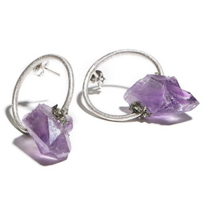 Amethyst Circle Earring