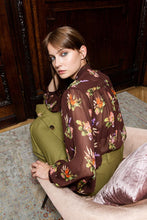 Load image into Gallery viewer, GRETA Lame Flower Print Sheer Blouse