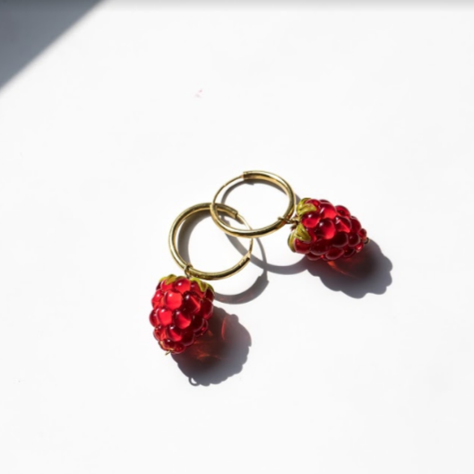 Raspberry Earrings Red (gold)