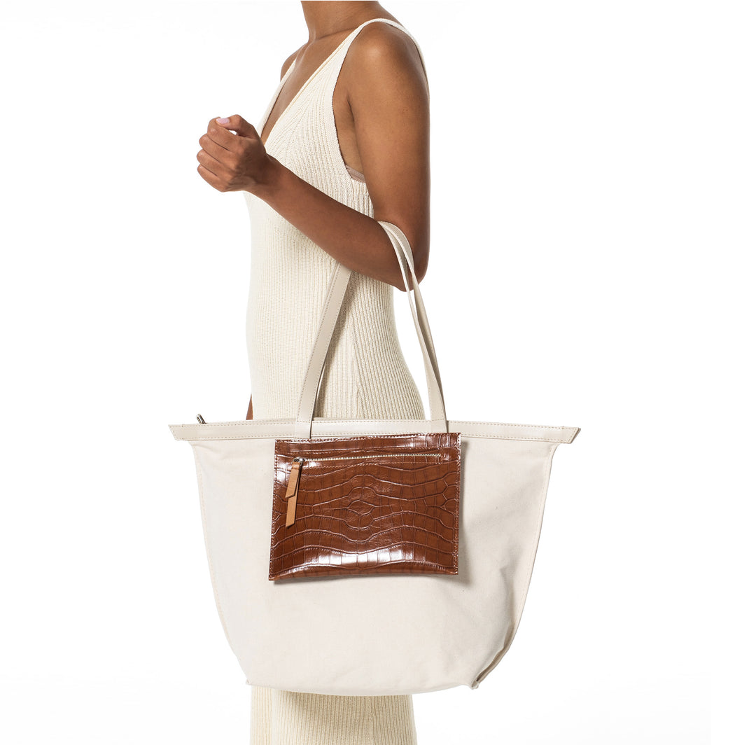 V3 Variable Canvas tote bag with leather pocketbag / big SAND