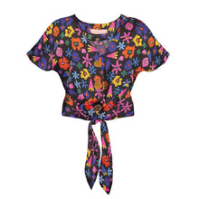 Load image into Gallery viewer, PALMA tie front button top 'doodle flower'